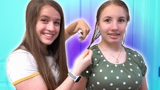 CUTTING MY SISTER'S HAIR (for real...)