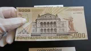 5000 Schilling 1988 Österreich Wolfgang Amadeus MOZART Banknote