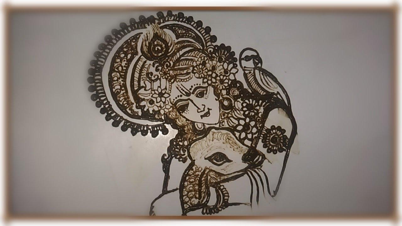 How to draw krishna ji in mehndi step by step