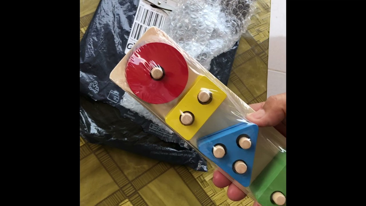 Unboxing educational learning wooden toy for kid