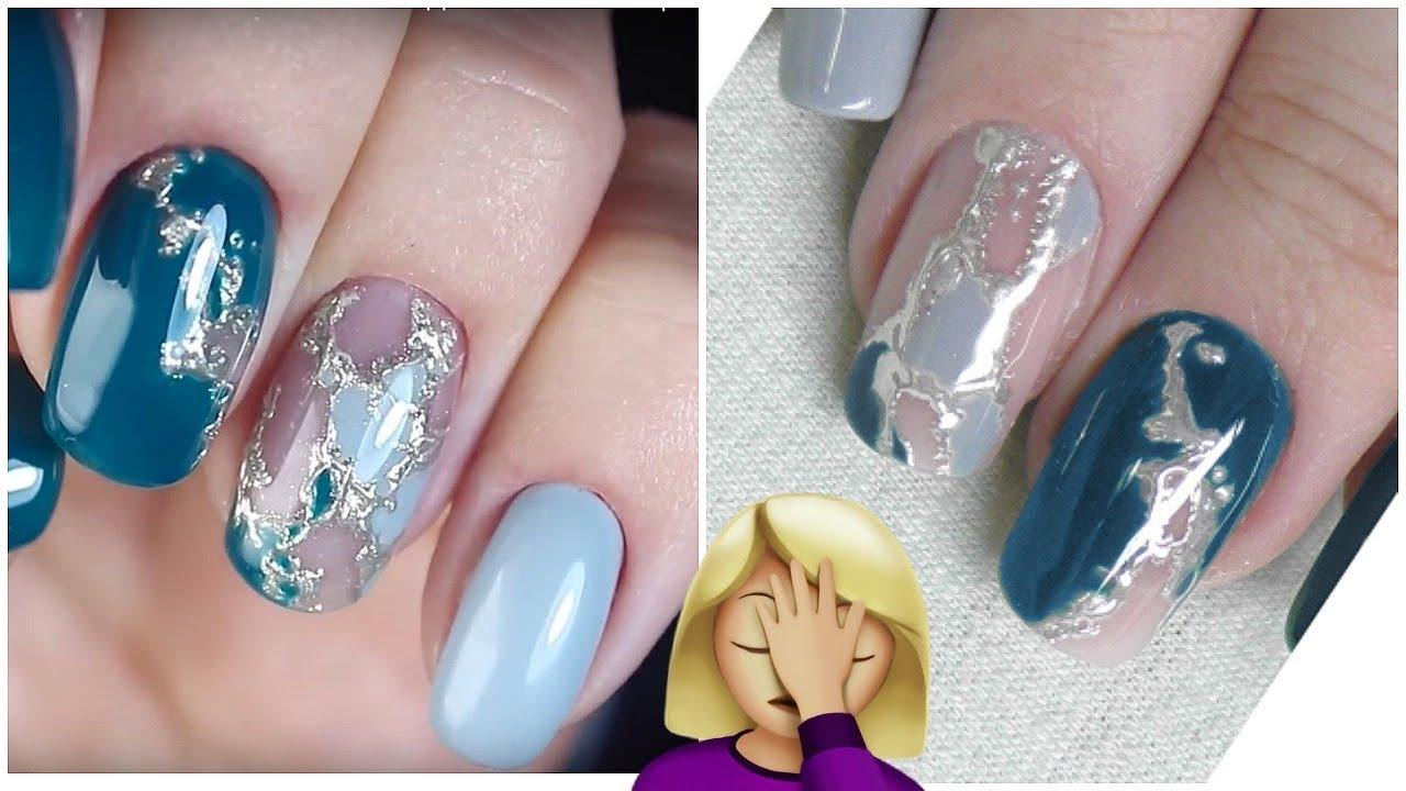 """Пробую повторить дизайн ногтей от Masha Create """"Жидкий Металл"""""""