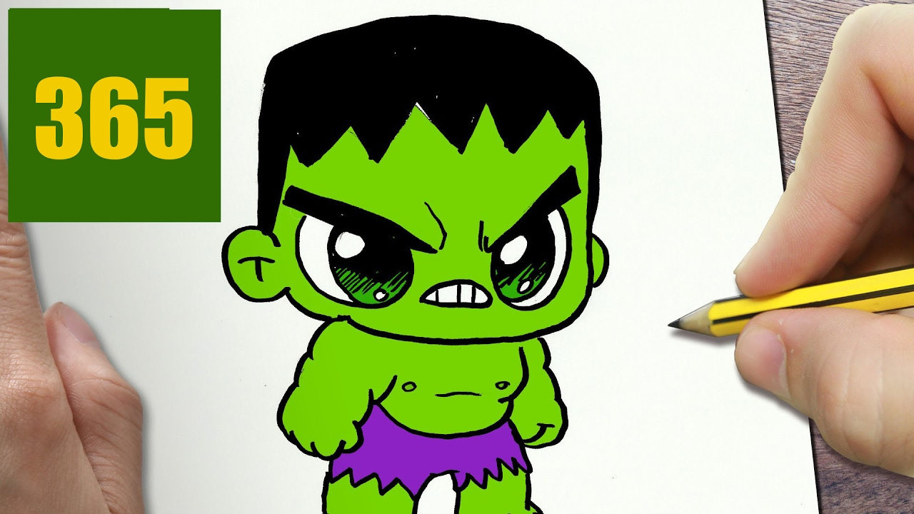 HOW TO DRAW A HULK CUTE, Easy Step By Step Drawing Lessons For Kids