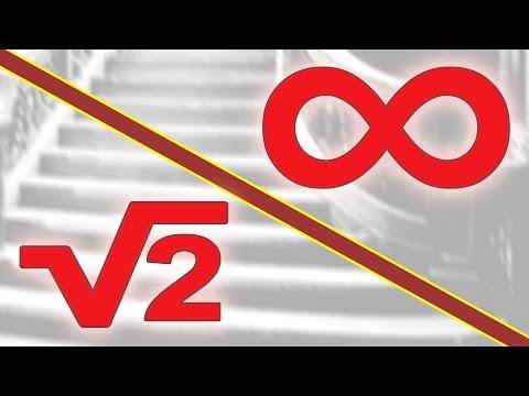 La escalera de infinitos escalones que parece medir 2 y raíz de 2 según cómo se mire