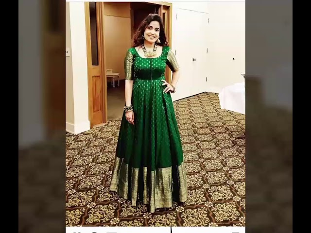 Gowns ideas from old silk sarees convert old silk saree into beautiful gown  reuse old silk sarees