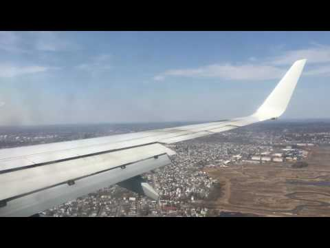 American Airlines B737-800 | Windy Approach, Landing and Taxi into Boston