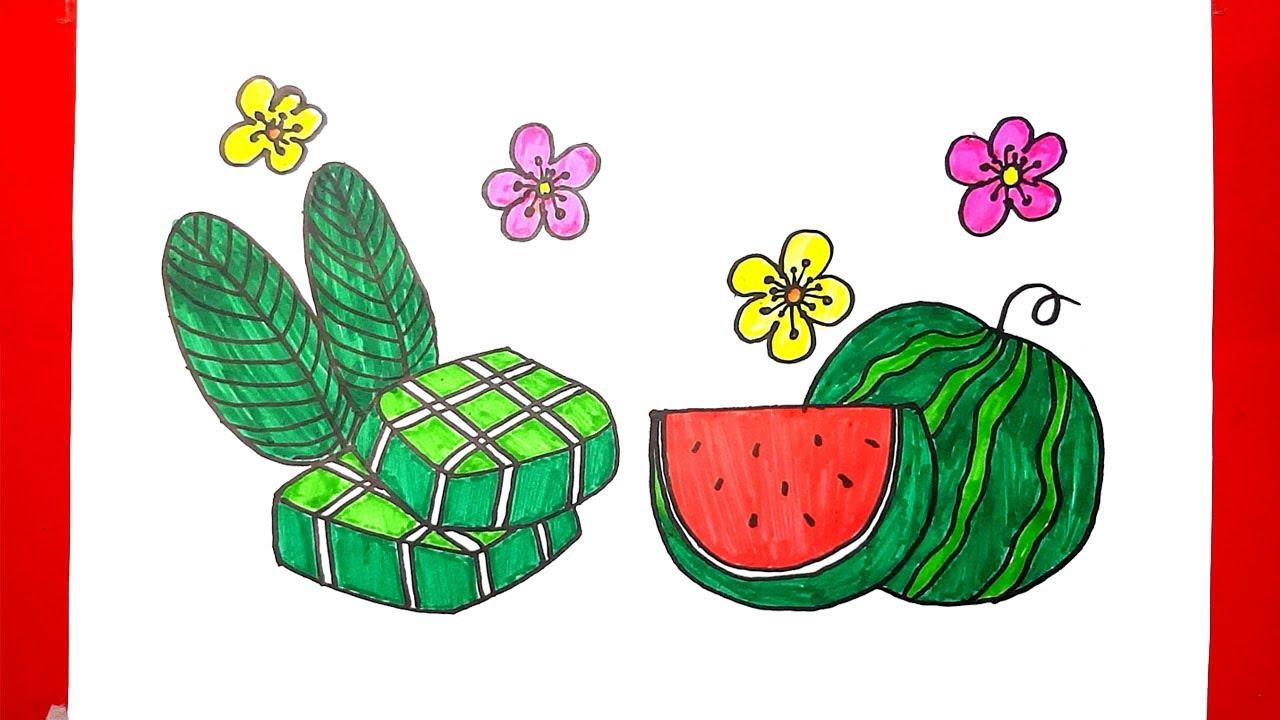 Vẽ bánh chưng đơn giản – Vẽ tranh ngày tết đơn giản