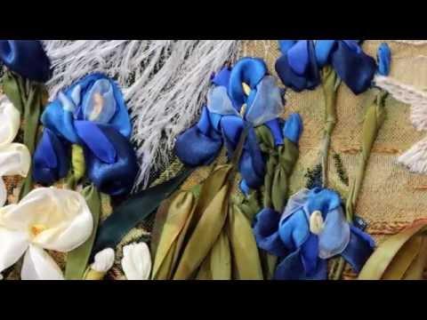 Peacocks Art Ribbon Embroidery - tapestry painting - Needlework Art Павлины Вышивка лента