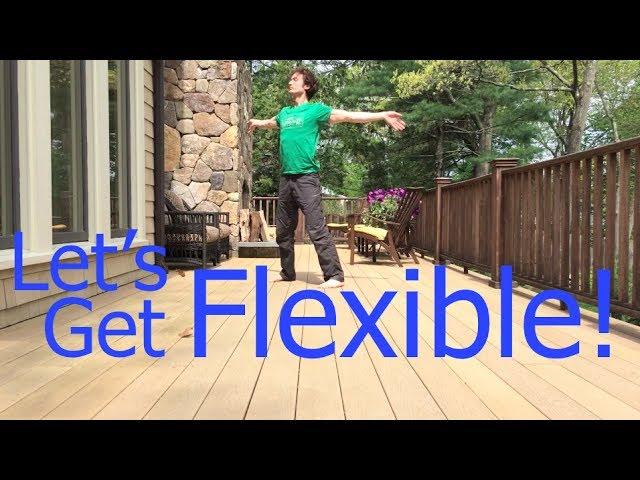 Flexible chubby teen stretching