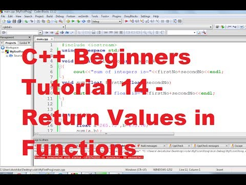 C++ Tutorial for Beginners 14 - Return Values in Functions