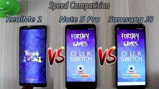 Samsung Galaxy J8 Vs Redmi Note 5 Pro Vs RealMe 1 Comparision !! Speed Comparision , HINDI