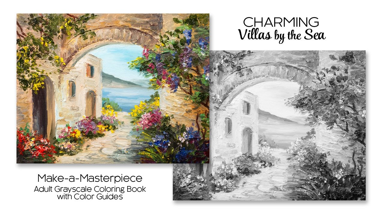 Charming Villas By The Sea Adult Grayscale Coloring Book With Color Guides