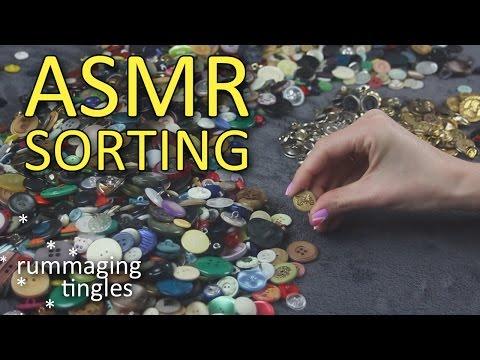 ASMR Colour sorting buttons (🎧 no talking, rummaging, visual ASMR, metal sounds)