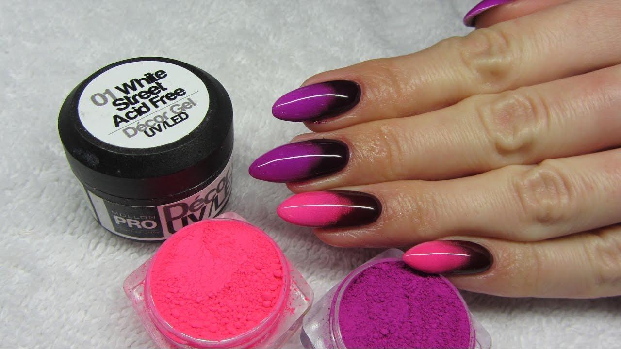 Paznokcie Różowe Neonowe Z Czarnym
