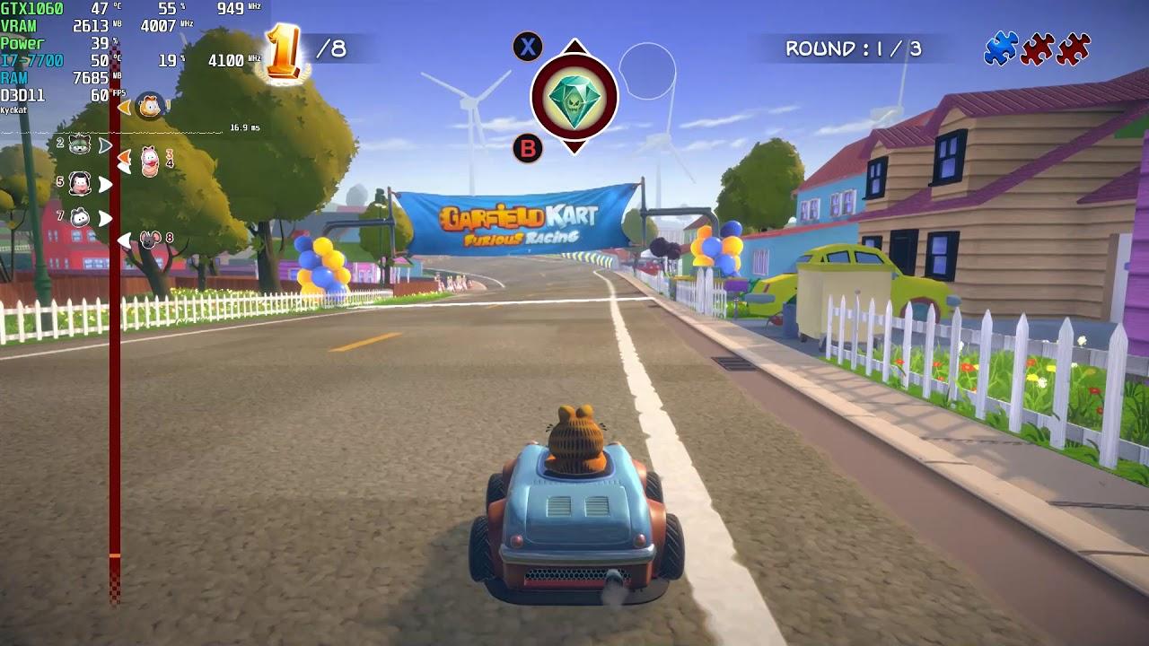 Garfield Kart Furious Racing Gameplay Pc Very High 1080p 60fps 2019 Steam Youtube