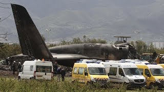 Detailed footage of Algerian IL-76 military plane crash wreckage