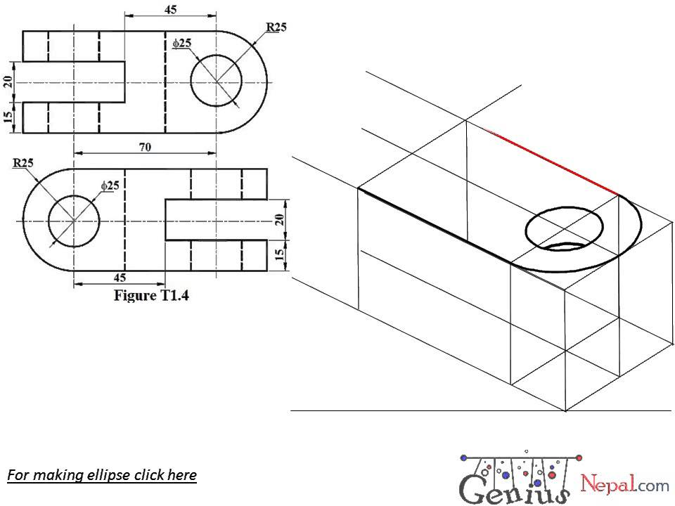 Engineering Drawing Tutorials/Isometric drawing with front and side view (T 1.1 d)