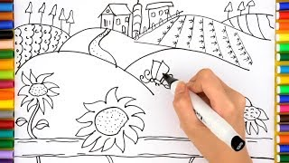 Farm Coloring Pages - How To Draw Farm House for Kids, Videos for Children