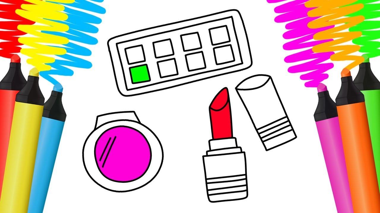 Como Desenhar E Pintar Kit De Maquiagem Desenho Para Colorir