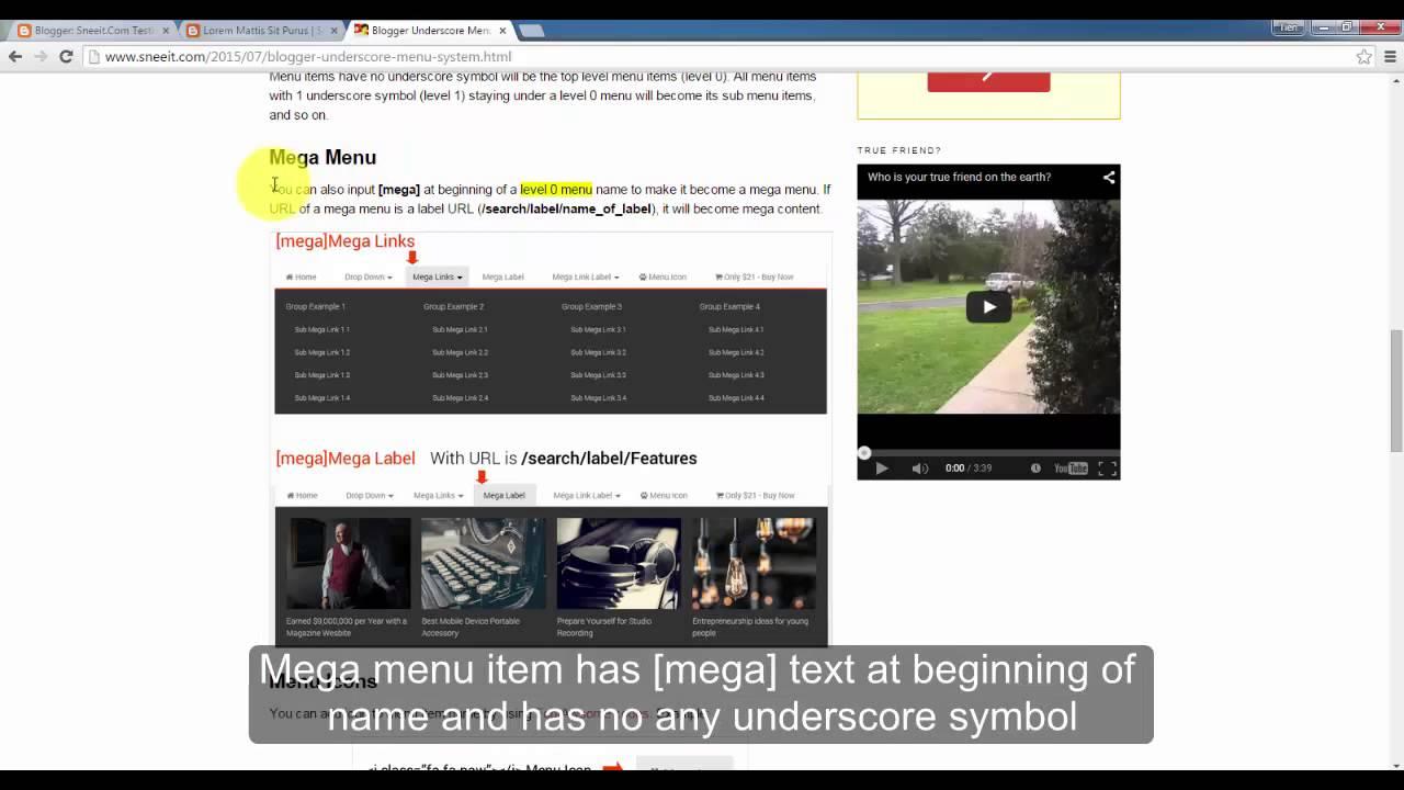 Underscore Menu System - Mega Navigation for Blogger Templates - YouTube