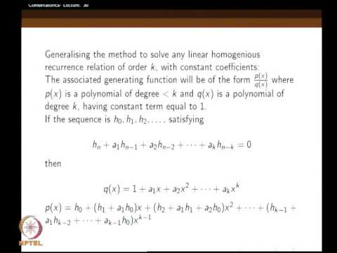 Mod-04 Lec-30 Solving recurrence relations using generating functions - Part (1)
