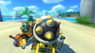 Wii U - Mario Kart 8 - クッパ7人衆二人の同性愛デート!? 第一デート モートン・イギー、デートみたいに海を走る プクプクビーチならぬラブloveシービーチ