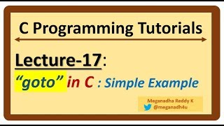 C-Programming Tutorials : Lecture-17 -