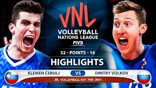 Slovenia vs Russia | VNL 2021 | Highlights | Klemen Čebulj vs Dmitry Volkov
