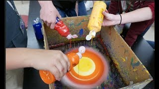 """Spin Art... centripetal force...""""centrifugal"""" force // Homemade Science with Bruce Yeany"""