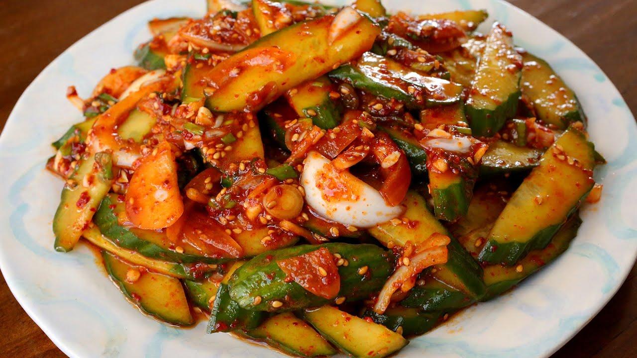 Spicy Cucumber Side Dish Oi Muchim 오이무침 Youtube