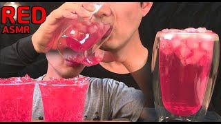 [ASMR]빨간색 음료수 먹방(Ft 웰치스 딸기,오미자…