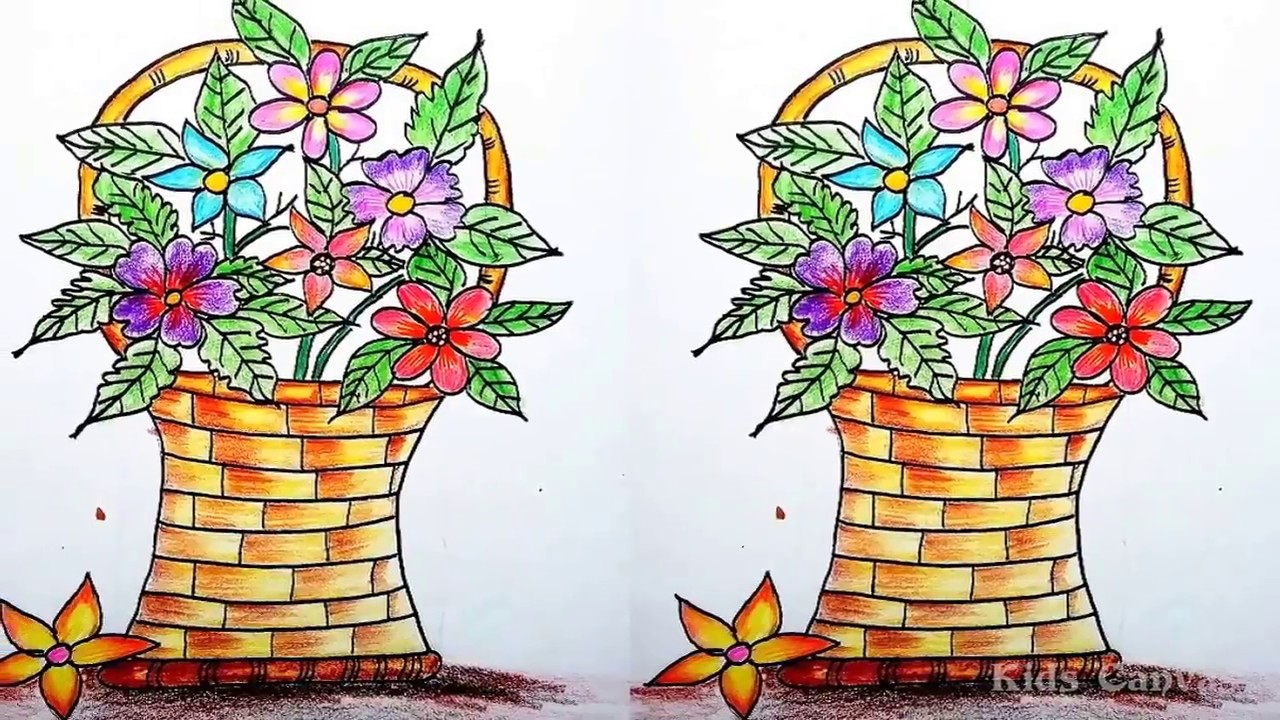 how to draw flower bouquet step by step flower vase drawing step by step for kids youtube. Black Bedroom Furniture Sets. Home Design Ideas