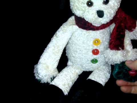 Chantilly Lane Bear FROSTY THE SNOWMAN Color Light Up Musical Plush Singing Song