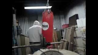 Rocking the hoody + boxing