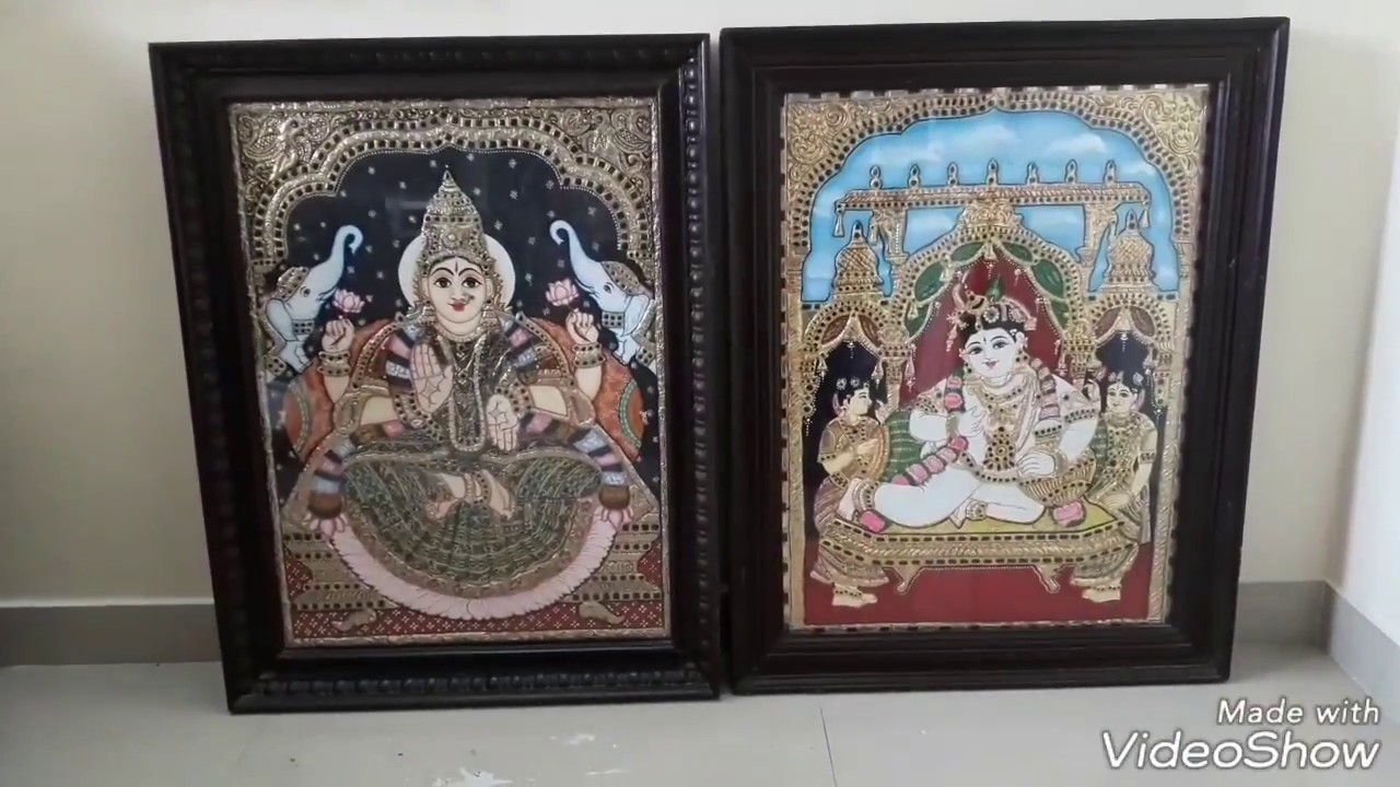 MY  TANJORE   PAINTING  WORK/ DEMO