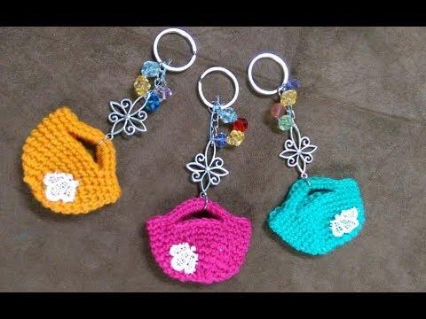 Amigurumis Pequeños Para Llaveros : Cómo tejer bolsas o carteras en miniatura para llaveros english