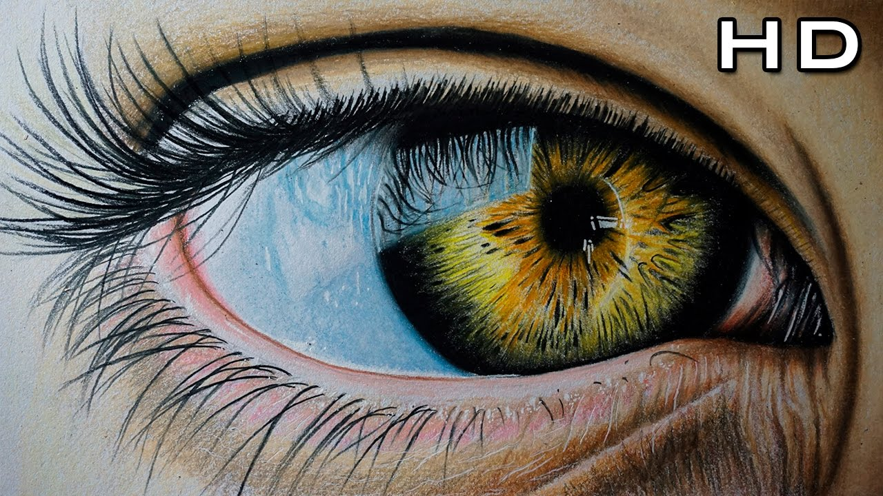 Dibujo De Un Ojo Realista Con Lapices De Colores Version Rapida