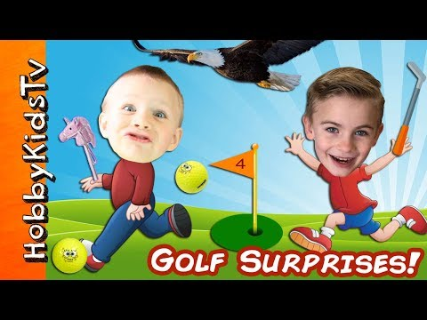 Sprayed with HOSE! Pushed In Pool! 🏌 Golf Surprise Imaginext Toy Reviews, Children Play HobbyKidsTV