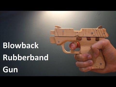 Blowback rubberband wooden pistol toy gun