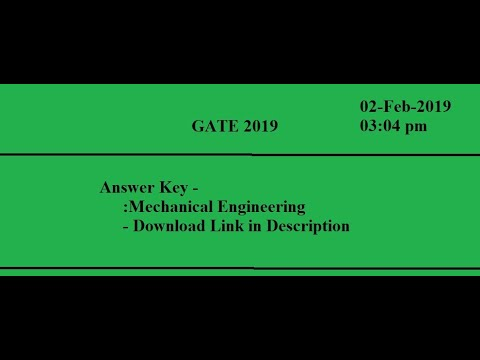 Answer key GATE 2019 ME | download link in the description box |