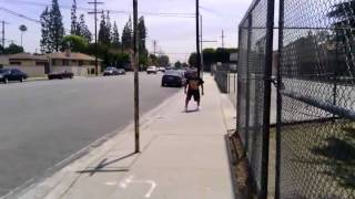 Izzy-D Jumps high as Hell to touch street sign