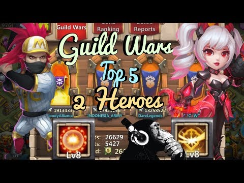 Guild Wars | Top 5 | 2 Heroes | Castle Clash