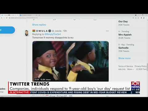 Twitter Trends: Companies, individuals respond to 9-year-old boy's 'our day' request list (30-7-21)