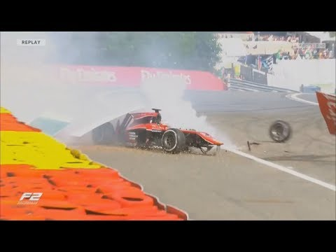 FIA Formula 2 Championship 2017. Race 2 Circuit de Spa-Francorchamps. Nobuharu Matsushita Huge Crash