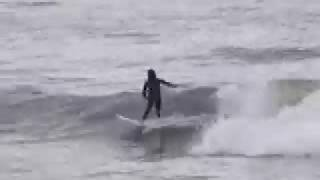 Michael, Mattie, and Sam surfing storm waves at Noll Longboard Clas...