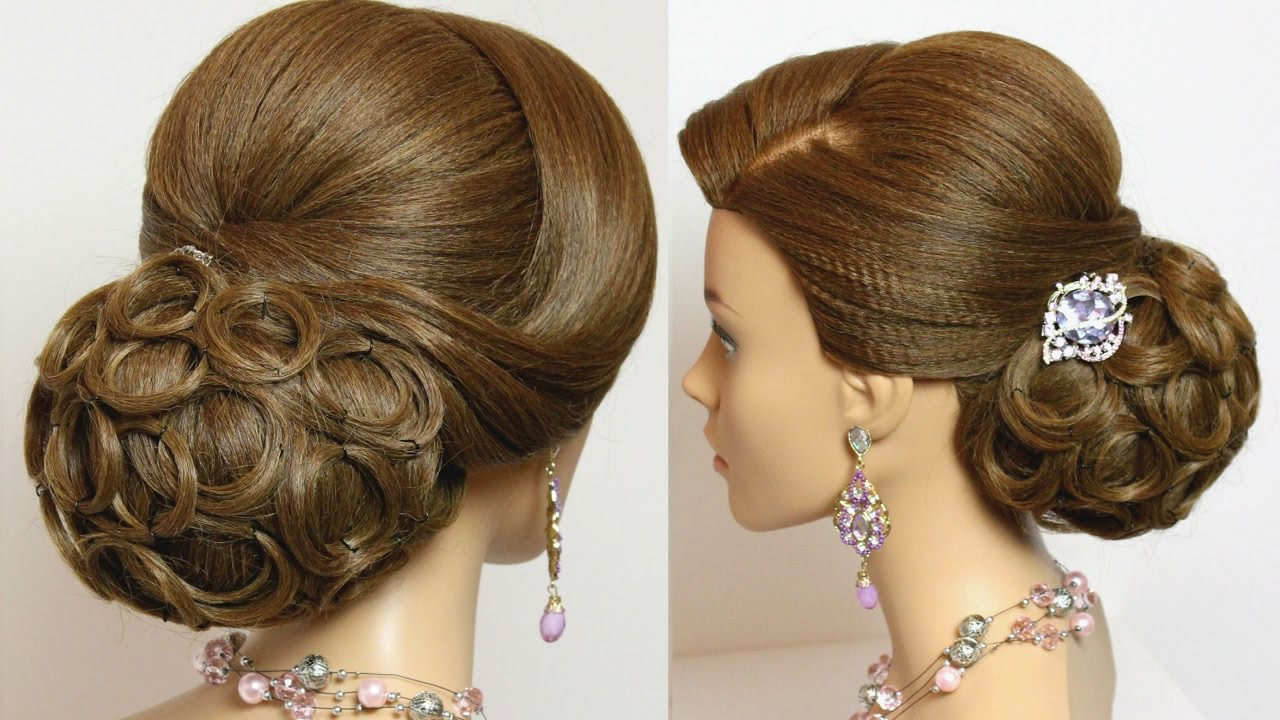 hairstyle for long medium hair tutorial. bridal prom updo