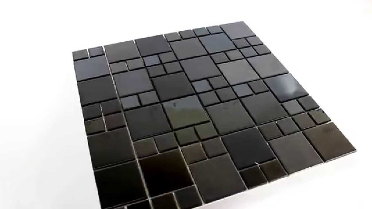 Edelstahl Metall Mosaik Fliesen Schwarz Grau - YouTube