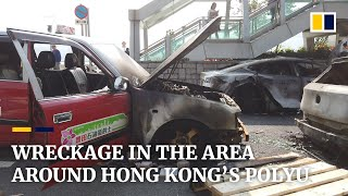 Scenes of destruction in streets surrounding besieged Hong Kong Polytechnic University