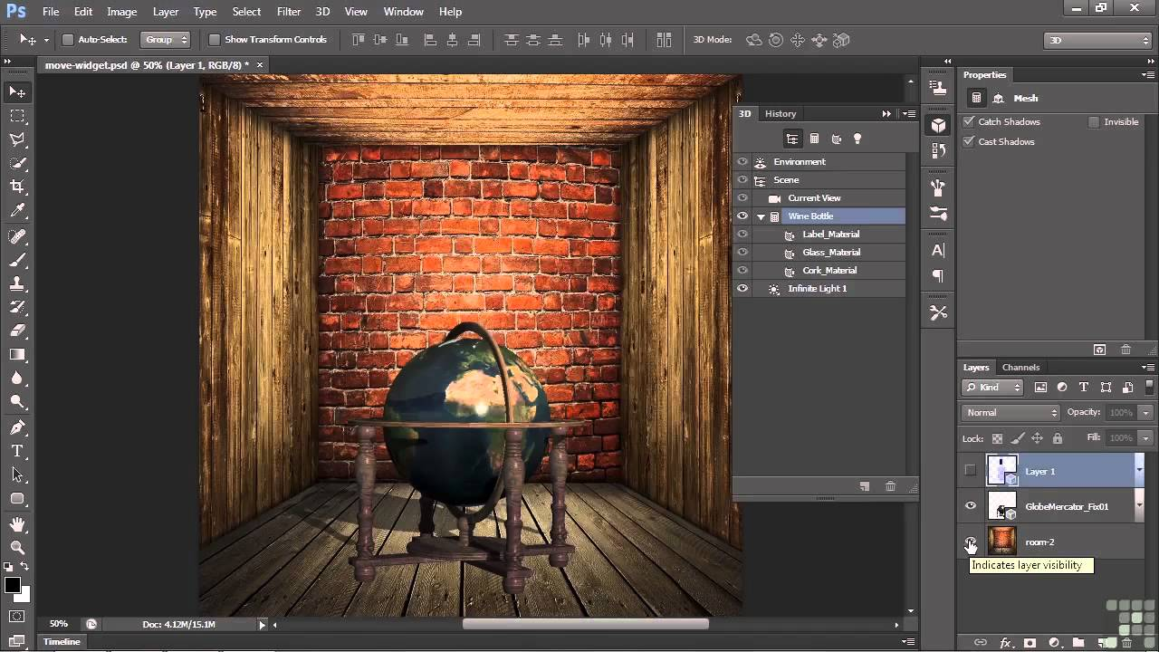 3d modeling with adobe photoshop tutorial using the widget to move