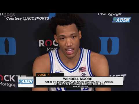 Wendell Moore reacts to 25-point performance in Duke's 83-82 win over BC