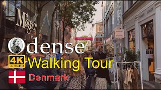 ⁴ᴷ⁶⁰ Walking in Odense: Odense City Hall to Monk Moses | Odense City Center | Walking in Denmark